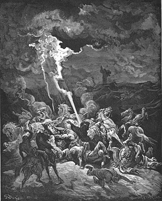 Elijah destroying the messengers of Ahaziah (illustration by Gustave Dore from the 1866 La Sainte Bible) 094.Elijah Destroys the Messengers of Ahaziah.jpg