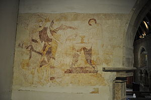 St Peter's Church, Preston Village, Brighton - 13th century wall paintings, west side of the knave.