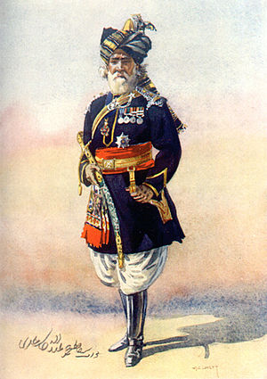 20th Lancers (British Indian Army) - An officer of the 15th Lancers (Cureton's Multanis). Watercolour by AC Lovett, 1910.