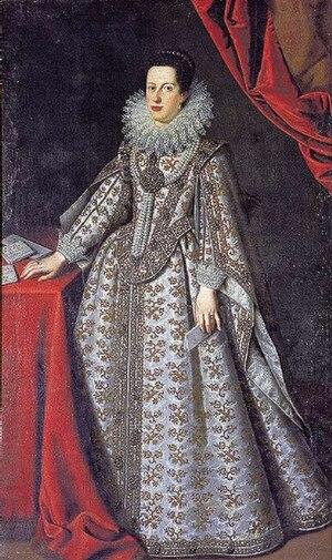 Catherine de' Medici, Governor of Siena - Image: 1621 full portrait of Caterina de' Medici as Duchess of Mantua by Justus Sustermans