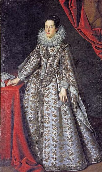 Catherine de' Medici, Governor of Siena - Image: 1621 full portrait of Caterina de' Medici as Duchess of Mantua by Justus Sustermans