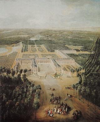 1724 - Jean-Baptiste Martin - Louis XV enfant en promenade en vue du Grand Trianon.JPG