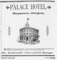 1892 Palace Hotel Advertisement Heppner Oregon.png