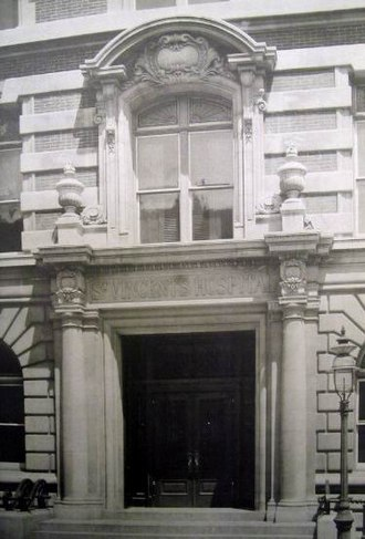 Saint Vincent's Catholic Medical Center - Main Entrance of St. Vincent's Hospital (1900), Greenwich Village, New York City