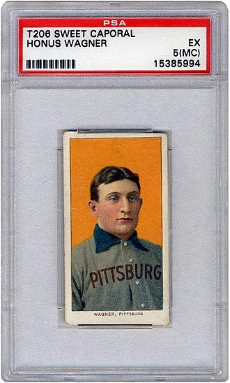 T206 Honus Wagner - 1909 T206 Honus Wagner Baseball Card with PSA grade EX 5-MC