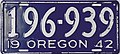 1942 Oregon license plate.JPG