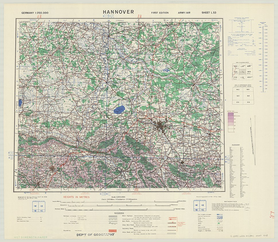 1943 WWII map of Hannover, Germany