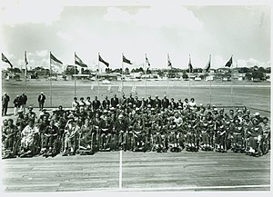1962 Commonwealth Paraplegic Games competitors team photograph