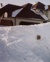 A large pile of snow piled up in front of a home, nearly obscuring it. A mailbox is peeking through the pile of snow and a basketball hoop can be seen behind the snow in front of the home. Snow is piled up in small areas on top of the home's roof.