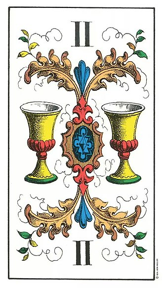 Suit of goblets - Two of Cups or Goblets in the Swiss 1JJ Tarot deck