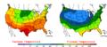 2005-09-29 Color Max-min Temperature Map NOAA.png