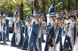 German-American Steuben Parade - A German Guggenmusik band performs at the Steuben Parade in New York