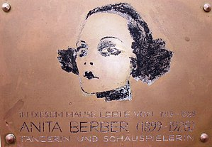 Anita Berber - A plaque outside Anita Berber's house in Berlin.