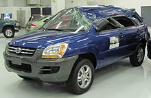 The Insurance Institute For Highway Safety (IIHS) Displays A 2008 Sportage  As An Example Of A Weak Roof