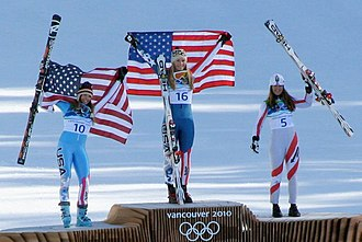 United States at the 2010 Winter Olympics - The medal ceremony for the women's downhill. From left: Julia Mancuso (silver), Lindsey Vonn (gold) and Elisabeth Görgl (bronze).