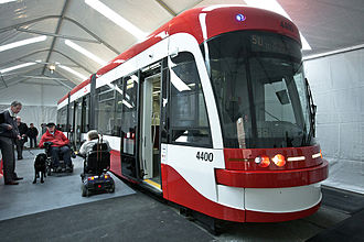 Flexity Outlook (Toronto streetcar) - A mockup of the first three sections of the new vehicle on public display in 2011