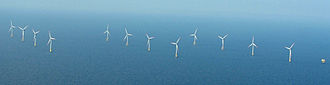 Alpha Ventus Offshore Wind Farm - Aerial view of Alpha Ventus wind park (may 2012)