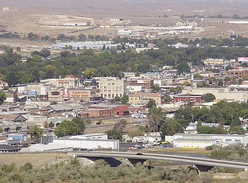 2012-09-30 14 28 33 View of downtown Elko in Nevada from a bluff to the south.