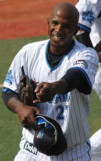 20130317 Nyjer Jamid Morgan, outfielder of the Yokohama DeNA BayStars, at Yokohama Stadium.JPG
