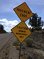 2014-07-30 12 46 24 Signs at the end of pavement on Main Street in Belmont, Nevada.JPG