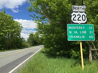 U.S. Route 220 in Virginia - View north along US 220 in Highland County
