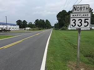 Maryland Route 335 - View north along MD 335 at MD 336 in Crossroads