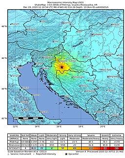 2020-12-29 Petrinja, Croatia M6.4 earthquake shakemap (USGS)