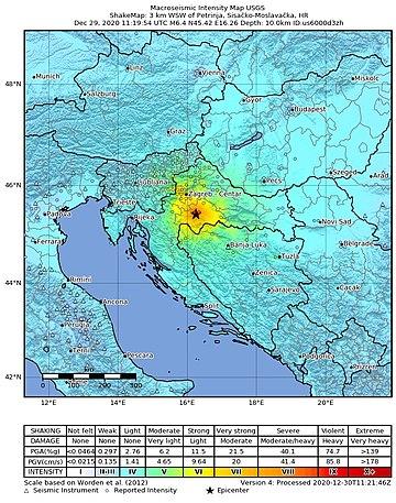 2020-12-29 Petrinja, Croatia M6.4 earthquake shakemap (USGS).jpg