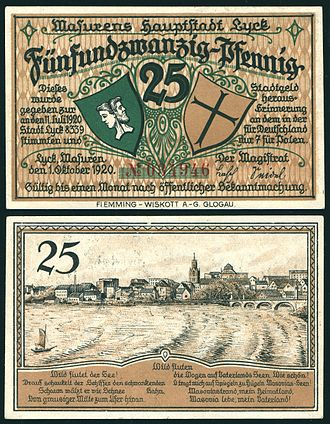 Ełk - 25 Pfennig Notgeld banknote of 1920 with a view of the town on the reverse