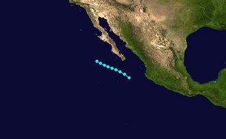 1952 Pacific hurricane season - Image: 3 E 1952 track