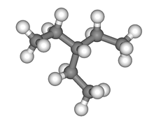 Ball and stick model of 3-ethylpentane