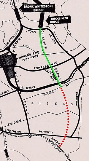 Interstate 295 (New York) - A 1964 highway map showing the completed section of the Clearview Expressway (green), and the unbuilt extension to the Nassau Expressway (red).