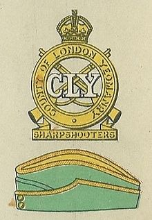 3rd and 4th County of London Yeomanry (Sharpshooters) badge and service cap.jpg