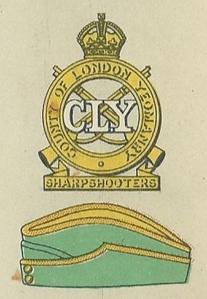 3rd County of London Yeomanry (Sharpshooters) - Badge and service cap as worn at the outbreak of World War II