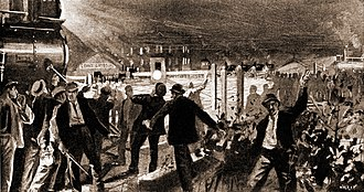 Pullman Strike - The American Railway Union escalated the Pullman strike beginning with the blockade of the Grand Crossing in Chicago during the night of June 26, 1894.