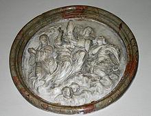 Ambrogio con la sorella Marcellina, in un rilievo barocco