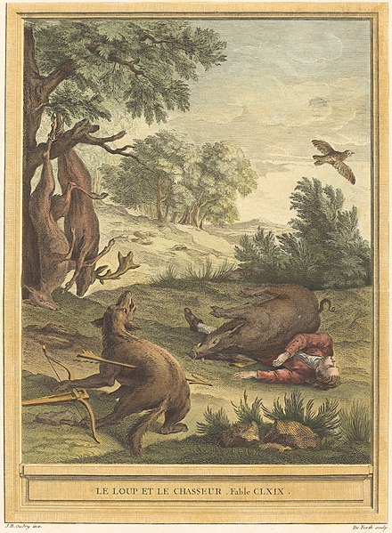 File:A.-J. de Fehrt after Jean-Baptiste Oudry, Le loup et le chasseur (The Wolf and the Hunter), published 1756, NGA 55518.jpg