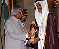 A.P.J. Abdul Kalam presenting Padma Shri to Shaikh Abdul Rahman Al Mahmoud of Doha-Qatar for his contribution in the field of judiciary, charity and religious affairs, at investiture ceremony in New Delhi on March 29, 2006.jpg