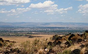 West Mesa - View of downtown Albuquerque and the Manzano Mountains from the West Mesa