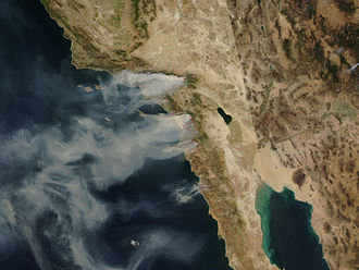 Duncan Hunter 2008 presidential campaign - The California wildfires of October 2007 burn in Hunter's congressional district seen in this satellite NASA photo