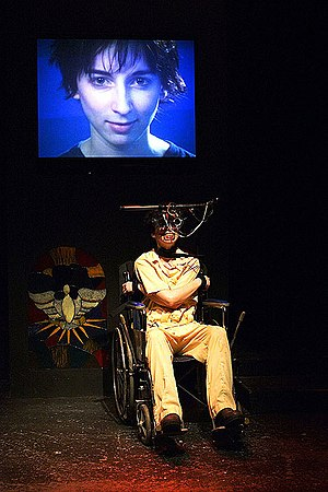A Clockwork Orange (novel) - Vanessa Claire Smith in Brad Mays' multi-media stage production of A Clockwork Orange, 2003, Los Angeles. (photo: Peter Zuehlke)