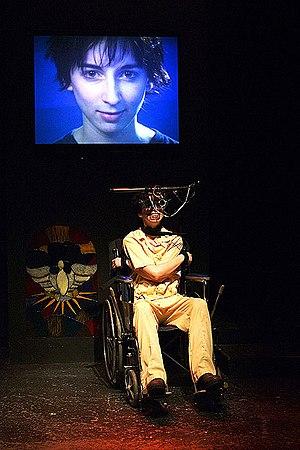 A Clockwork Orange (novel) - Vanessa Claire Smith in Brad Mays' multi-media stage production of A Clockwork Orange, 2003, Los Angeles. (photo: Peter Zuehlke)