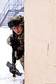 A Georgian soldier assigned to the 33rd Battalion provides security as part of a Georgian mission rehearsal exercise (MRE) in Hohenfels, Germany 130214-M-NQ873-382.jpg