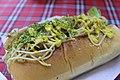 A Japanese sandwich with spaghetti in a hotdog bun.jpg