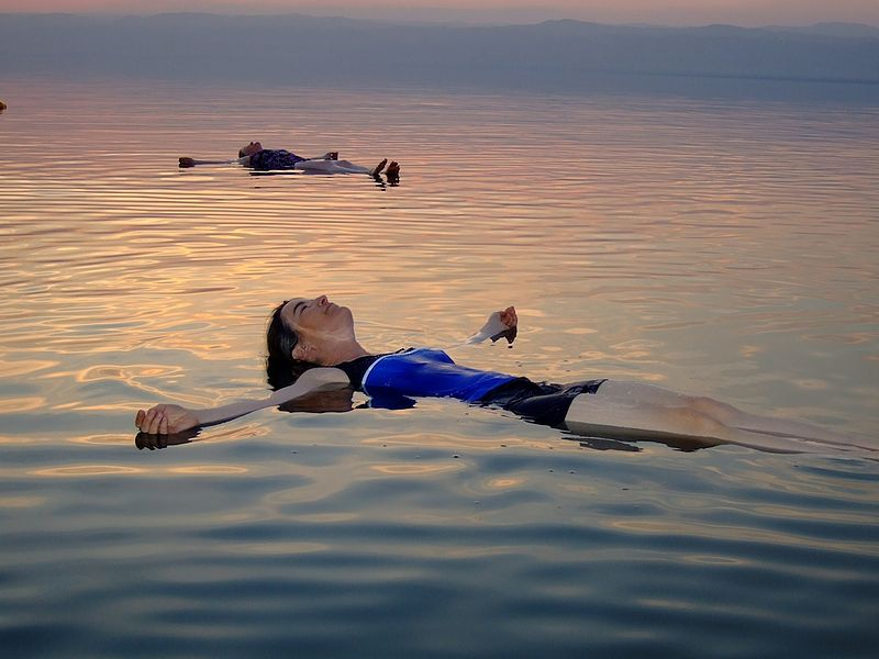 Going for a float in the Dead Sea.