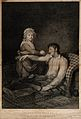 A frail and wounded soldier being saved from death by the ca Wellcome V0015783.jpg