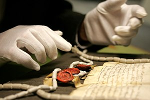 The National Archives (United Kingdom) - A manuscript and seals being examined at the archives