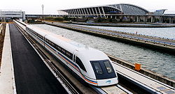 A maglev train coming out, Pudong International Airport, Shanghai.jpg