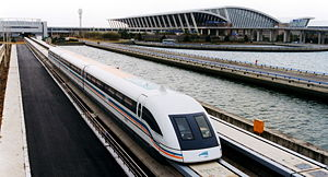 Levitation - A magnetically levitated (maglev) train departing Shanghai Pudong International Airport on the first commercial high-speed maglev line in the world.
