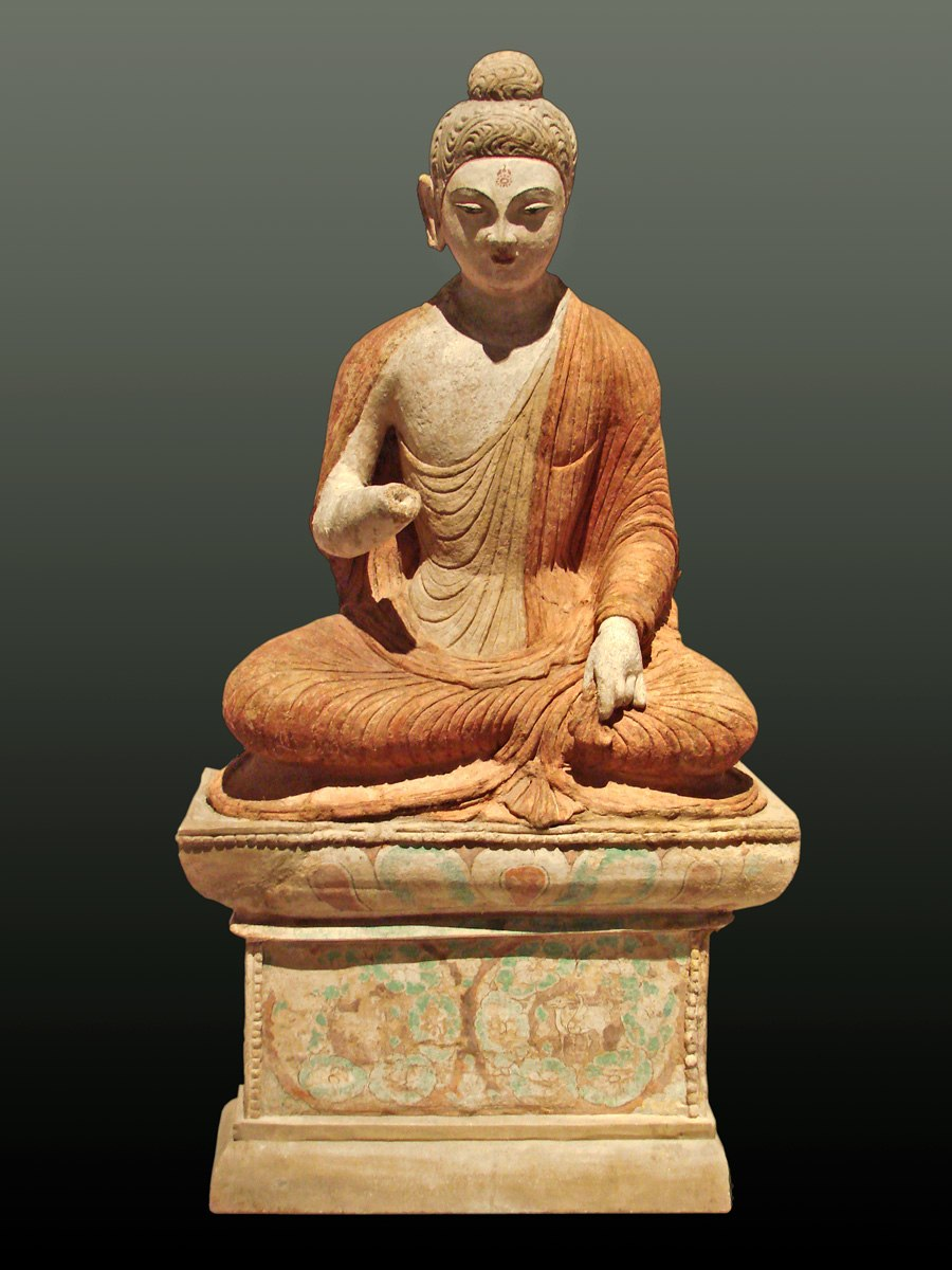 A statue depicting Buddha giving sermon, from Sarnath, now at Museum of Asian Art, Dahem Berlin